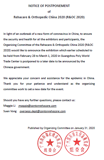 NOTICE OF POSTPONEMENT  of Rehacare & Orthopedic China 2020 (R&OC 2020)