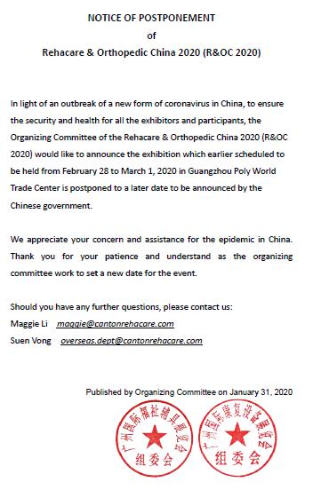 NOTICE OF POSTPONEMENT  of Rehacare & Orthopedic China 2020 (R&OC 2020)